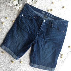 Mossimo Mid Rise Bermuda Denim Jean Stretch Shorts